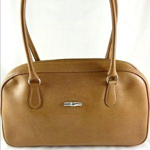 Longchamp Logos Bamboo Leather Shoulder Hand Bag